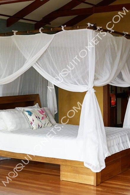 Deluxe cotton box shaped mosquito net bed canopy for king size bed. Fully hemmed and quality run proof weave cotton manufacture. Fast delivery.