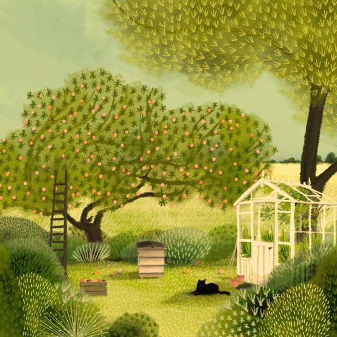 new art crush: jane newland | Garden illustration, Folk art painting, Naive art