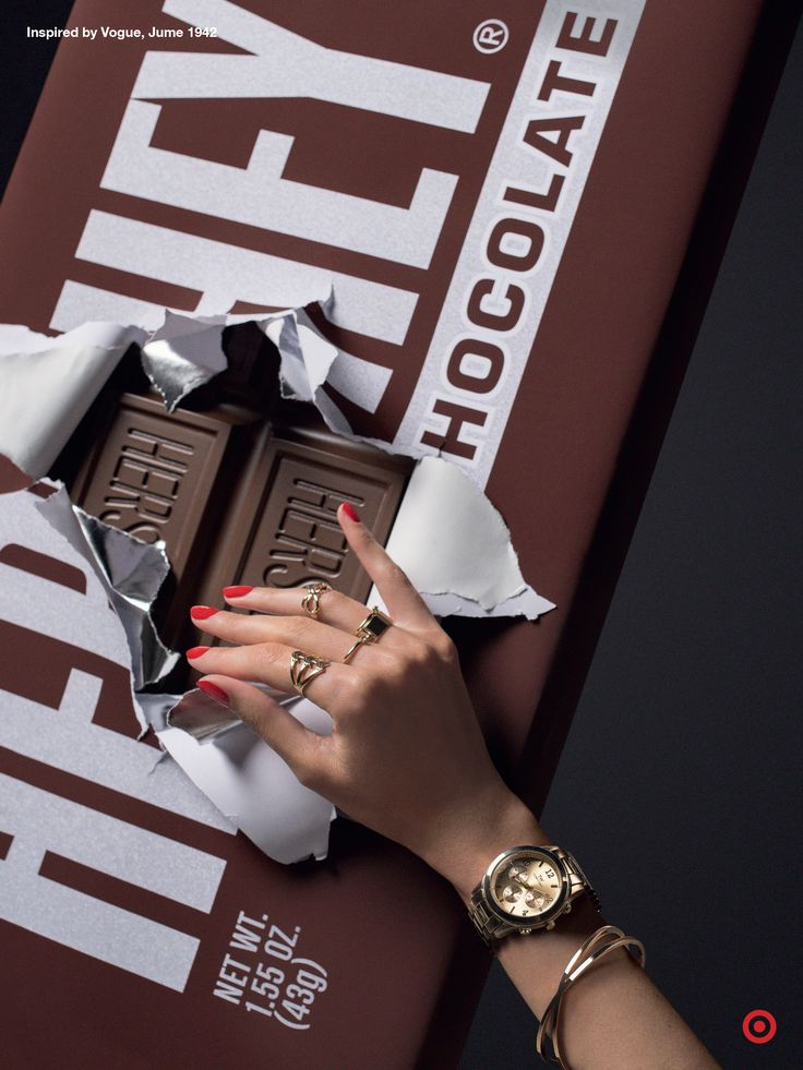 The only thing better than a giant Hershey chocolate bar? The perfect accessories that's holding it. Inspired by an image featured on the cover of Vogue's June 1942 issue, these accessories are available at Target today. TargetStyle, in Vogue.