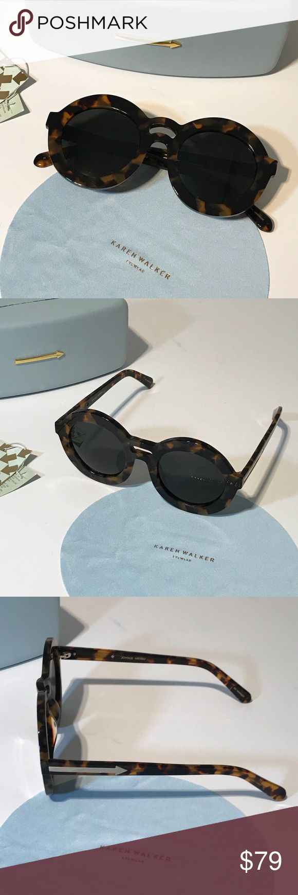 KAREN WALKER Joyous Tortoise Women's Sunglasses These gorgeous glasses feature round lenses and double ridge over nose. UV protection. Comes with cleaning cloth and carrying case. Gently used. Smoke free home. (CR) Karen Walker Accessories Sunglasses