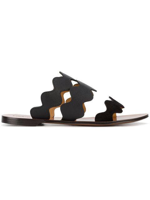 Chloé Black Lauren Leather Slides ($600)
