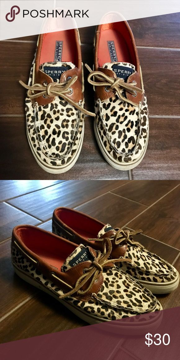 Leopard Sperry Top-Sider Great condition! Haven't been worn very much. Silky orange fabric on the inside Sperry Top-Sider Shoes