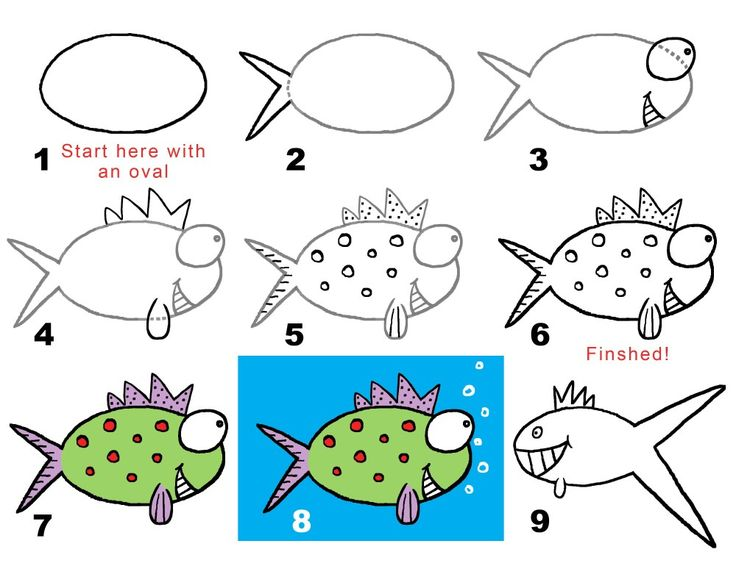 239 best drawing for kids 6 8 years images on pinterest for Cartoon fish drawing