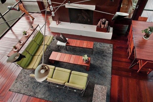 Appealing Interiors Design Ideas with Wooden Floors and High Ceiling
