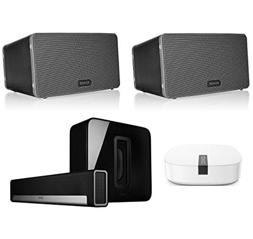 Sonos MultiRoom Digital Music System Bundle PLAYBAR 2 PLAY3 Speakers  Black Wireless Subwoofer  Black and BOOST. This is surely a great product!
