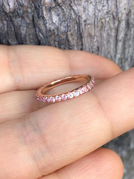 Full Eternity Band Ring With Natural Pink Sapphires Material 14k