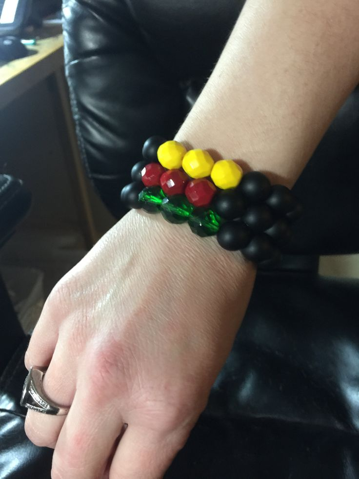 Irie Beads Iconic Rasta Color 12mm Bead Stack of 3 Bracelets