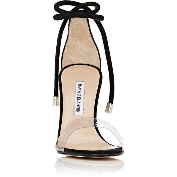 Manolo Blahnik Women's Estro Sandals (€670) ❤ liked on Polyvore featuring shoes, sandals, suede shoes, clear high heel shoes, open toe sandals, lace up sandals and clear sandals