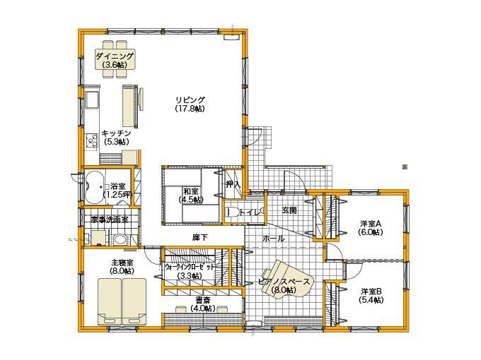 平屋建てL型プランで平屋の間取りデメリットを解消した家|間取りプラン
