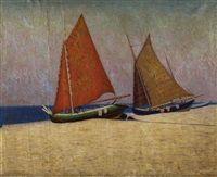 Dwie łodzie rybackie na plaży by Wladimir Wlodzimierz Nalecz