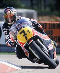Yamaha rider Barry Sheene in action during the 500cc British Motorcycle Grand Prix in 1980