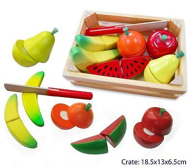 FUN FACTORY WOODEN CUTTING FRUIT in CRATE pretend play kitchen food kids toy