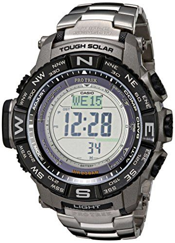 Get This Awesome Casio Men's PRW-3500T-7CR Pro Trek Tough Solar Digital Sport Watch for only $264.71 Solar-powered sport watch with stainless steel rotating bezel featuring digital dial with day/date display and backlight Features triple sensor, atomic timekeeping, low-temperature resistance, digital compass with bearing memory, altimeter, barometer, thermometer, sunrise and sunset data,...