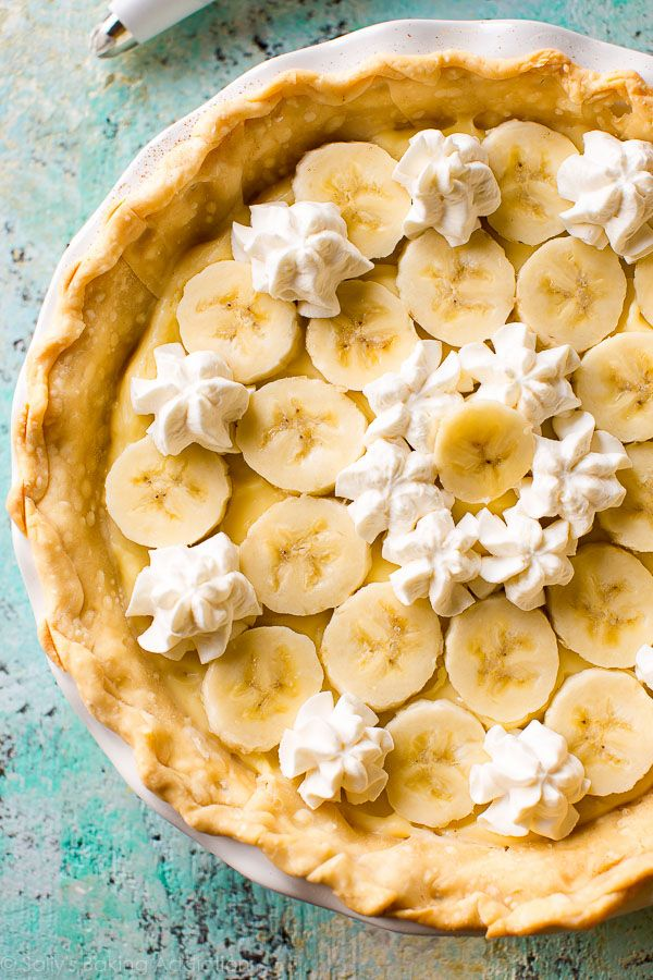 This homemade banana cream pie is phenomenal. The crust is buttery, the filling is luscious, and the bananas are beautifully tender. All from scratch!