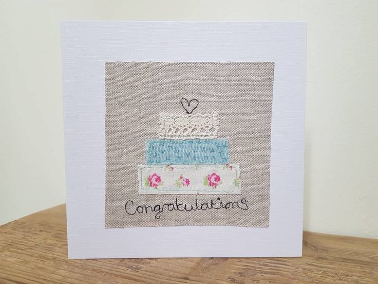 Original textile card, greeting card, wedding card, wedding day card, textile artwork, handmade card, blank card, unique by AlisonWhateley on Etsy
