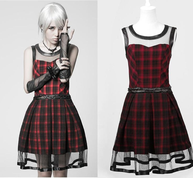 Q 205 Robe Écossaise Rouge Dress Tartan Punk Rave Lolita Gothic Mode | eBay