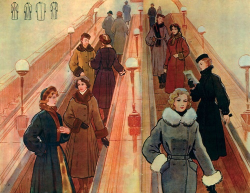 Soviet fashion design for women featured in the Dom Modelai (House of Prototypes), circa 1954.    These are really pretty.