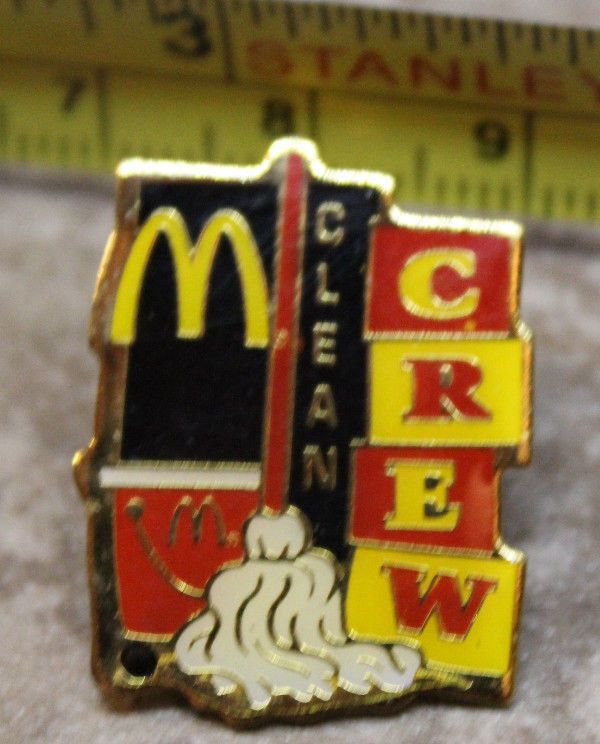 McDonalds Clean Crew Mop Collectible Pinback Pin Button #McDonalds