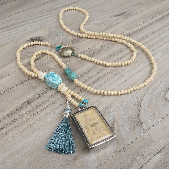 balenciaga bag outlet Long Mala Tassel Necklace  Buddha Shrine Pendant  Off White and Turquoise  Wood Beads