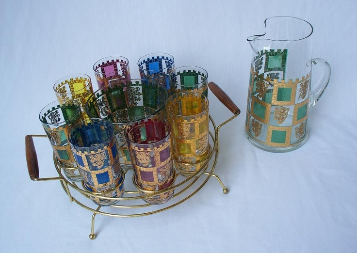 Hollywood Regency Jewel Tone Barware Cocktail Set In Caddy   Pitcher  Glasses Ice Bucket