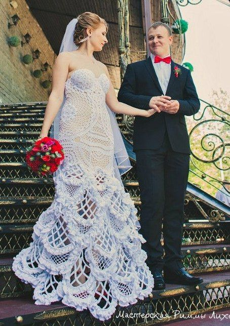 crochet weddingg dress by Rimma Lihovskih