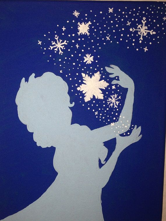 Elsa Frozen silhouette painting  by jupitermoose on Etsy