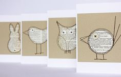 Set of four critter cards made from pages of an old by moonmum, $ 22.00