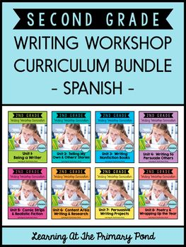 Spanish Writing Workshop Curriculum Bundle For Second Grade K 2