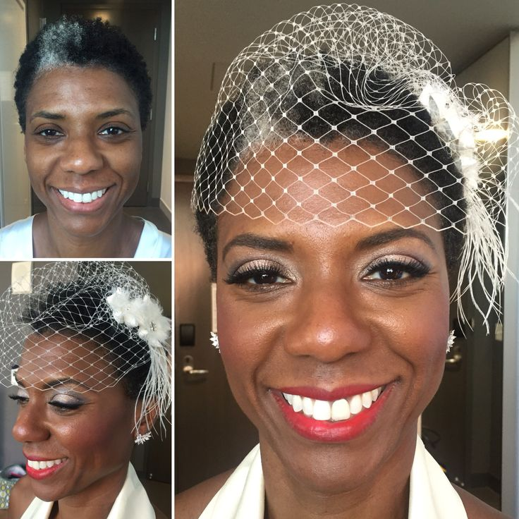 Before and after makeup of my Sept. 3, 2016 bride, Janelle. Rose gold and violet eyeshadows, semi-dramatic lashes, berry cheek color and red lip color.