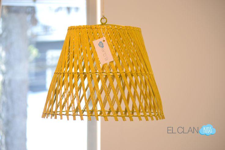 Lámpara Mimbre Colores, decoración Infantil  www.elclankids.cl