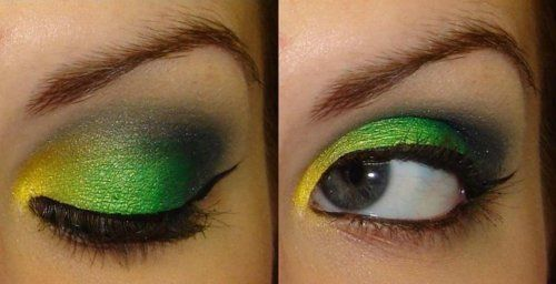love the colors: Eyemakeup Thingsgirlslik, Eye Makeup, Green Bays Packers Nails, Yellow Eyeshadows, Green Bays Packers Makeup, Beautiful Eyemakeup, Eyes Lashes, Beautiful Delight, Poisons Ivy
