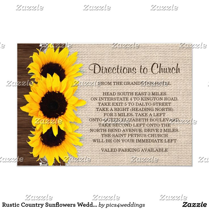 Rustic Country Sunflowers Wedding Direction CardsRustic country sunflower direction cards, featuring a burlap and lace design on dark brown barn wood with sunflowers. A coordinated wedding invitation, rehearsal dinner invitation, reception invitation, save the dates, RSVP and thank you cards, inserts etc. are available.