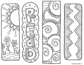 Free Printable Bookmarks To Color Sketch Coloring Page