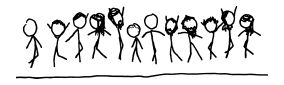 the stick figure characters, who had been standing, now jumping in a variety of poses