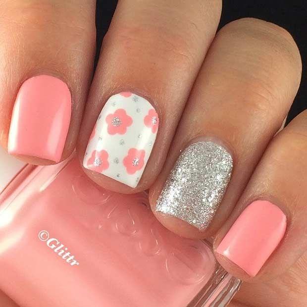 Cute Flower Nail Design for Spring