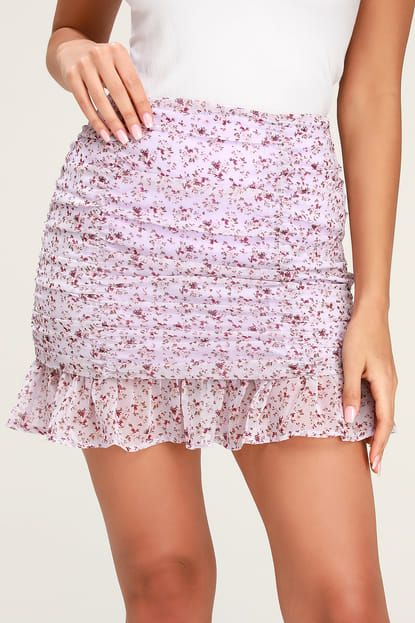 7f7ad152b5c7 Sage The Label DELILAH LILAC FLORAL PRINT RUFFLED MINI SKIRT – Mod and  Retro Clothing