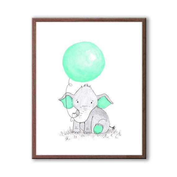 Baby Nursery Art Elephant Nursery Decor New baby by TheDaisyFields