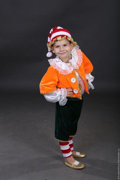Купить или заказать Костюм Буратино в интернет-магазине на Ярмарке Мастеров. карнавальный костюм Буратино для мальчика комплектация: рубашка, курточка, бриджи, гетры, колпак, золотой ключик, нос.