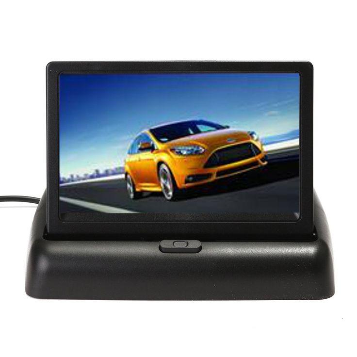 Car Rear View Foldable Monitor Display+8LED Night Vision Reverse Parking Camera