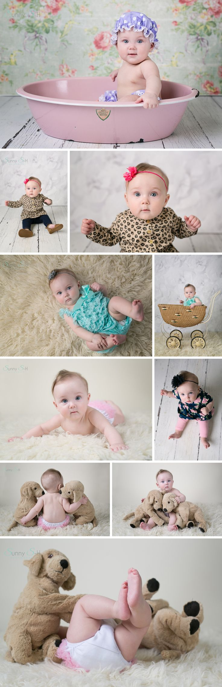 6 month baby in studio photography.  Super cute props and poses.