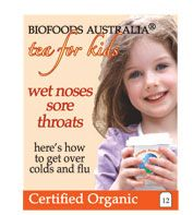 Kids Wet Noses Sore throats tea contains herbs to strengthen the delicate immune system and to assist in overcoming colds and flu with echinacea