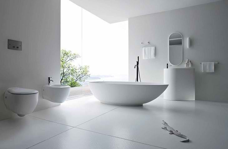 White Modern Restroom Designs For Small Spaces