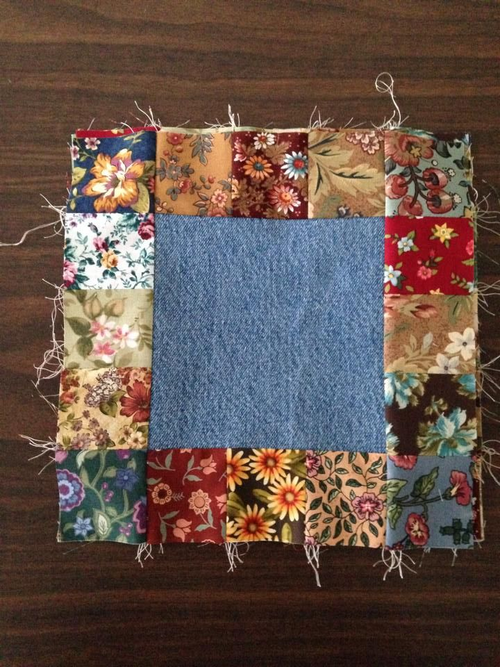 The blue jean squares were cut at 6 1/2, the flower prints were cut at 2 1/2, Finished block, 10 inches.