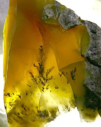 """""""Honey opal"""" from Hungary, with manganese dendrite"""