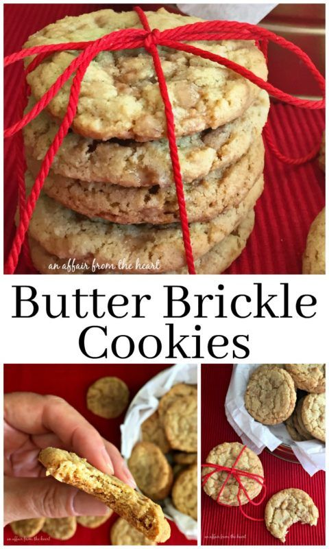 Butter Brickle Cookies - An Affair from the Heart -- Fashioned after the delectable Nebraska – made Butter Brickle Ice Cream – these buttery cookies are full of toffee bits and will soon be a family favorite! #50StatesofCookies @BobsRedMill #ad