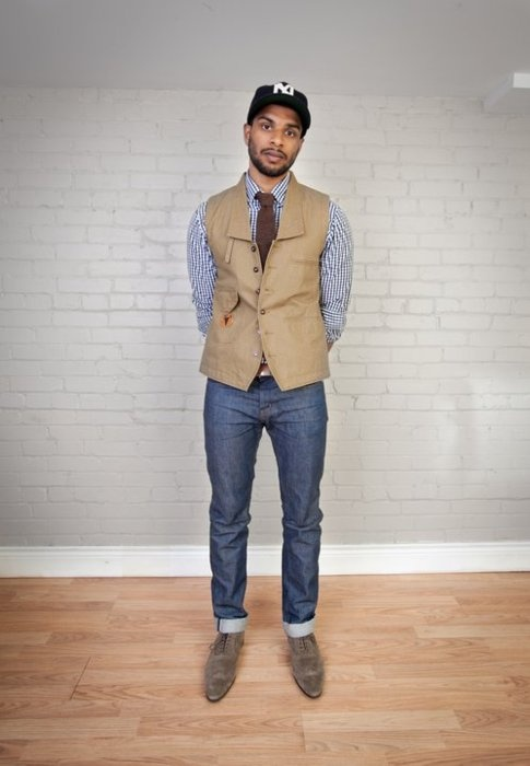 Mens Style  //The vest is cool, and I'm liking the baseball cap!!