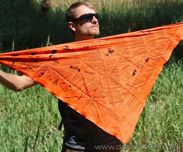 Don't get fooled because it is a simple bandana, this amazing tool can come very handy in surviving the wilds, and it can help you where no other tool can. Multifunctional headwear that provides for rescue signaling and first aid applications. Contains vital survival information organized by topics: Navigation, Fire Starting, Shelter, Water Collection & Purification, Signaling, Knots, and more.