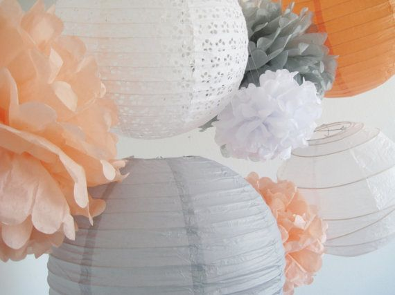 8 piece set  - Paper Pom Poms and Paper Lanterns  Peach, white and grey.  So excited to see how our customers use these.  Will it be in a nursery, for a bridal or baby shower, wedding decor, or....  What would you use them for?