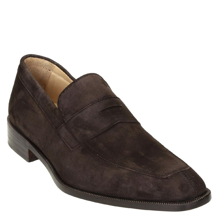 Dark brown suede leather penny loafers shoes handmade - Italian Boutique €280