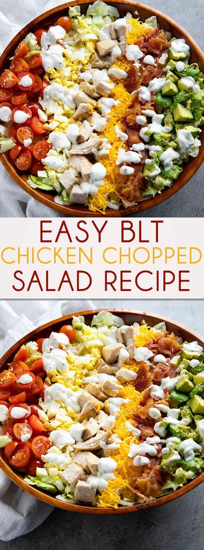 BLT Chicken Chopped Salad è pieno di lattuga fresca tritata, pollo succoso, croccante …